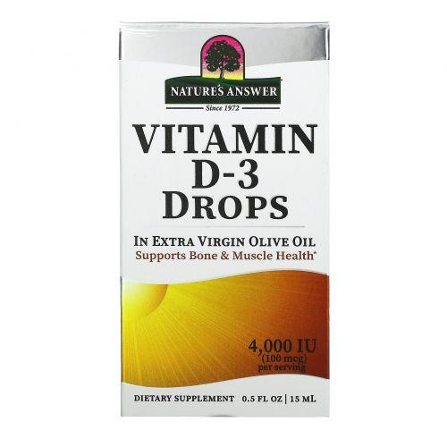 Nature's Answer, Витамин D-3, капли, 4000 МЕ, 0,5 жидких унций (15 мл)