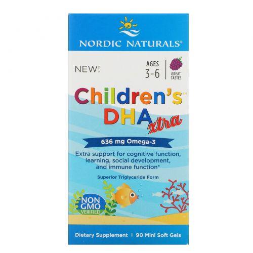Nordic Naturals, Children's DHA Xtra, Возраст 3-6 лет, Ягодный пунш, 636 мг, 90 мини-капсул