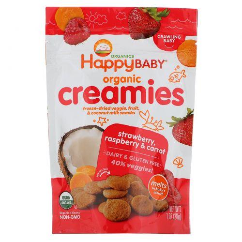 Nurture Inc. (Happy Baby), Nurture Inc. (Happy Baby), органический крем, закуска из сублимированных овощей и фруктов, клубника, малина и морковь, 1 унция (28 г)