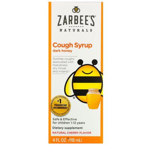 Zarbee's, Детский сироп от кашля с темным медом, натуральный вишневый ароматизатор, 4 жидких унций (118 мл)