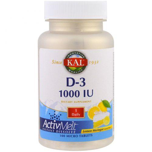KAL, D-3, Lemon Meringue, 1000 IU, 100 Micro Tablets