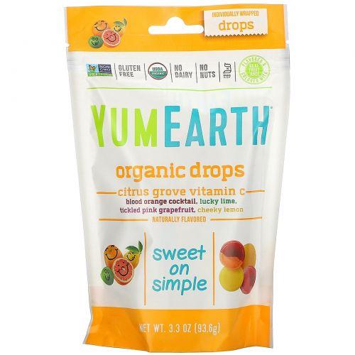 YumEarth, Органические леденцы с витамином C, цитрусовый вкус, 3.3 унций (93.5 г)