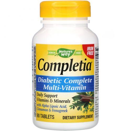 Nature's Way, Completia, Диабетические витамины, без железа, 90 таблеток