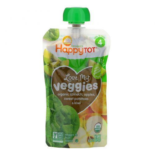 Happy Family Organics, Organics Happy Tot, «Вкусные овощи», органическое пюре из шпината, яблок, батата и киви, 120г