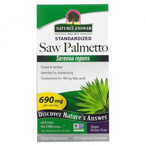Nature's Answer, Со пальметто, растение полного спектра, 690 мг, 120 капсул на растительной основе