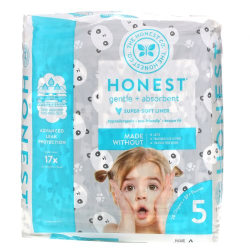 The Honest Company, Honest Diapers, Size 5, 27+ Pounds, Pandas, 20 Diapers
