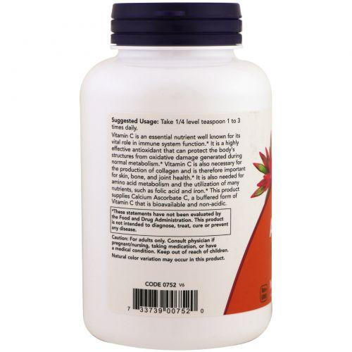 Now Foods, Аскорбат кальция, 100% чистый буферизованный Витамин C,  порошок, 8 унций (227 г)