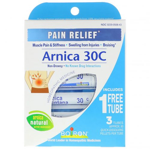 Boiron, Single Remedies, Arnica 30C, обезболивающее, 3 тюбика, 80 пеллет в каждом