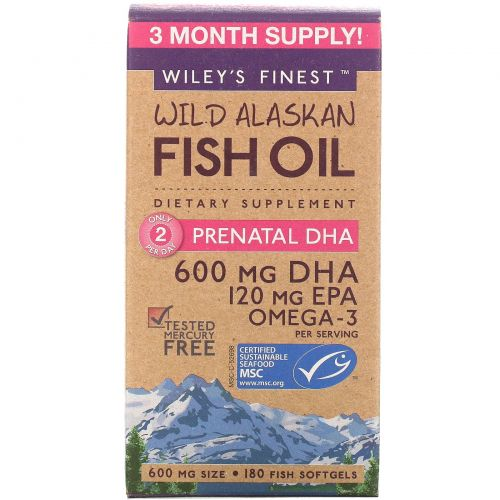 Wiley's Finest, Аляскинский рыбий жир, пренатальная ДГК, 600 мг, 180 рыбных  мягких капсул