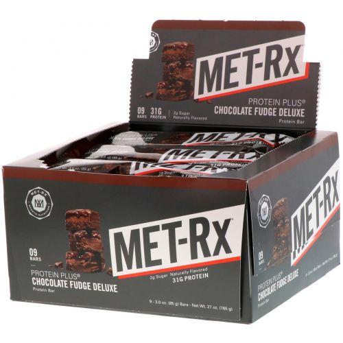 MET-Rx, Протеин Плюс, Шоколадная Помадка  Делюкс, 9 Батончиков, по3,0 унции (85 г) каждый
