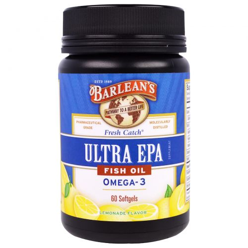 Barlean's, Ultra EPA, Triple Potency Omega-3, Lemonade Flavor, 1000 mg, 60 Softgels