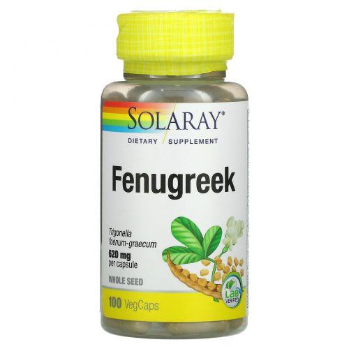 Solaray, Органически выращенный пажитник, 620 мг, 100 капсул с оболочкой из ингредиентов растительного происхождения
