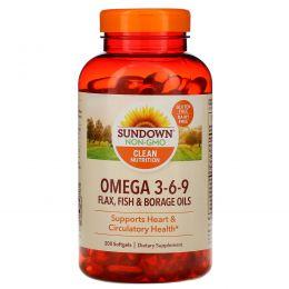 Sundown Naturals, Тройной комплекс Омега 3-6-9, 200 мягких капсул