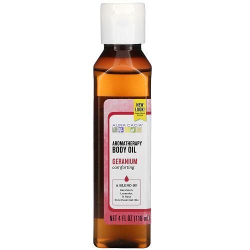 """Aura Cacia,  Ароматерапевтическое масло для тела, """"Успокаивающая герань"""", 4 жидких унции (118 мл)"""