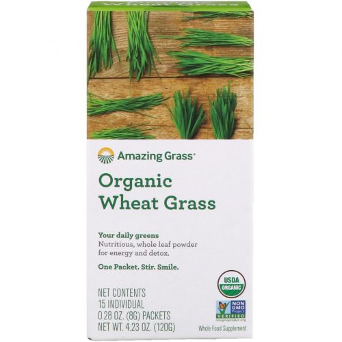 Amazing Grass, Органические побеги пшеницы, 15 индивидуальных пакетиков,  0,28 унции (8 г) каждый