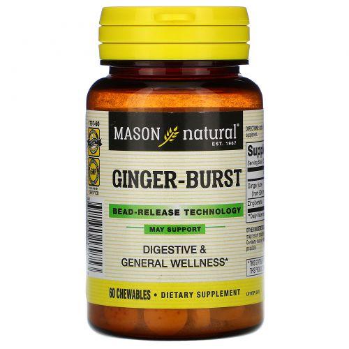 Mason Natural, Ginger-Burst, Bead- Release Technology, 60 Chewables