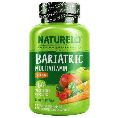 NATURELO, бариатрические мультивитамины с железом, 60 вегетарианских капсул