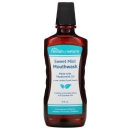 Mild By Nature, Mouth Wash, Made with Peppermint Oil, Long-Lasting Fresh Breath, Sweet Mint, 16 fl oz