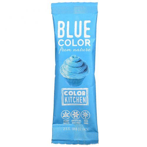 ColorKitchen, Украшение, пищевые красители, взятые у природы, синий, 1 пакетик с красителем, 0,088 унц. (2,5 г.)