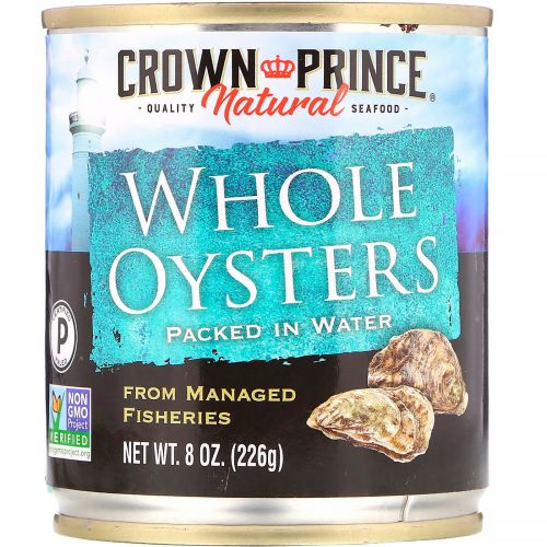 Crown Prince Natural, Вареные цельные устрицы, в воде, 8 унций (226 г)
