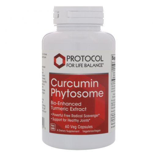 Protocol for Life Balance, Фитосома куркумина, биоулучшенный экстракт куркумы, 500 мг, 60 вегетарианских капсул