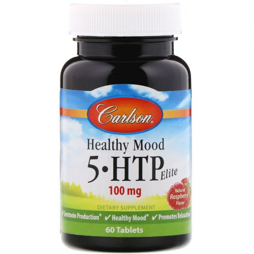 Carlson Labs, Healthy Mood, 5-HTP Elite, природный аромат малины, 50 мг, 60 вкусных таблеток