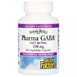 Natural Factors, Stress Relax, Pharma GABA, 100 мг, 60 растительных капсул