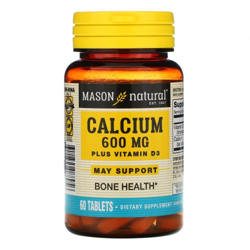 Mason Natural, Calcium Plus Vitamin D3, 600 mg, 60 Tablets