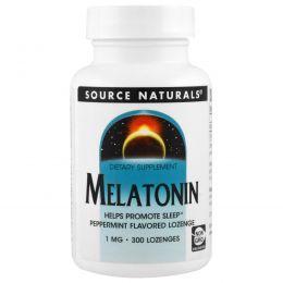 Source Naturals, Мелатонин, пастилки с мятным вкусом, 1 мг, 300 пастилок