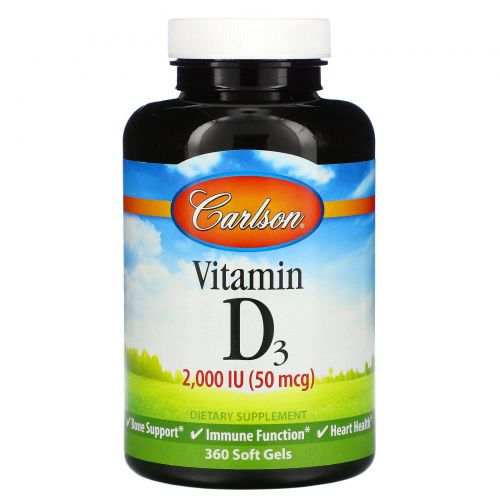 Carlson Labs, Витамин D3, 2 000 МЕ (50 мкг), 360 мягких таблеток