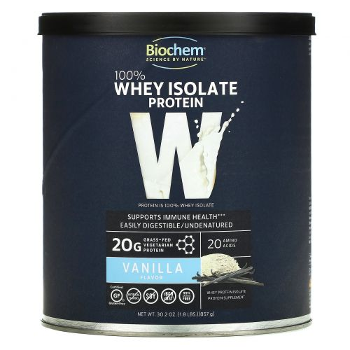 Biochem, 100% Whey Isolate Protein, Vanilla, 30.2 oz (857 g)