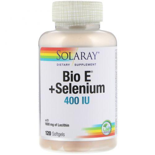 Solaray, Био E с селеном, 120 мягких капсул