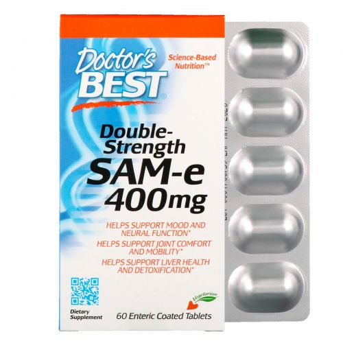 Doctor's Best, SAM-e, Double Strength, 400 mg, 60 Enteric Coated Tablets