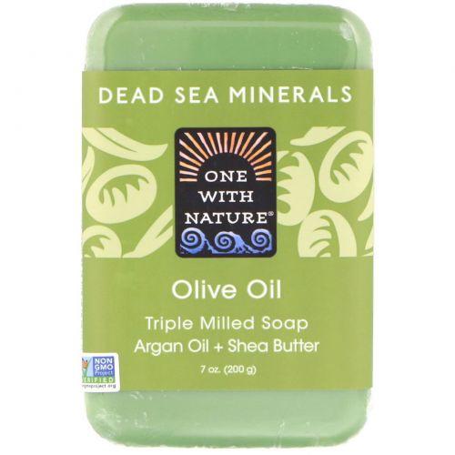 One with Nature, Трижды пилированное мыло с оливковым маслом, 7 унций (200 г)