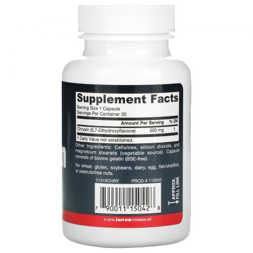 Jarrow Formulas, Хризин, 500 мг, 30 капсул