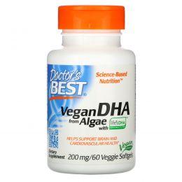 Doctor's Best, Растительная ДГК (Best Vegetarian DHA), из морских водорослей, 200 мг, 60 растительных таблеток