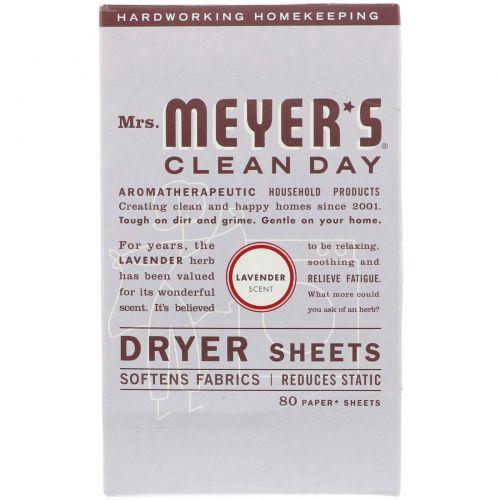 Mrs. Meyers Clean Day, Антистатические салфетки, аромат лаванды, 80 шт.