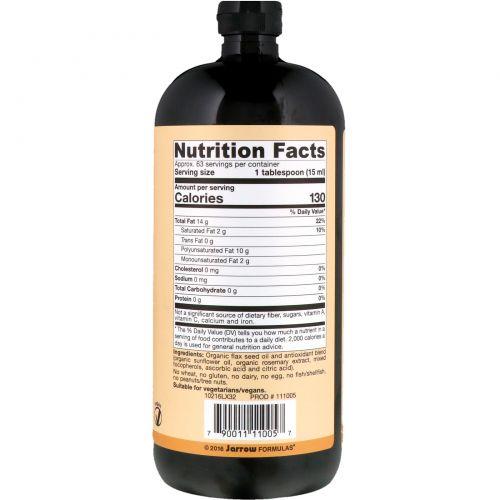 Jarrow Formulas, Сертифицированное натуральное льняное масло, 32 жидких унции (946 мл)