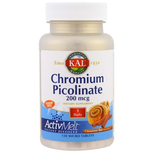 KAL, Chromium Picolinate ActivMelt, Cinnamon Bun, 120 Micro Tablets