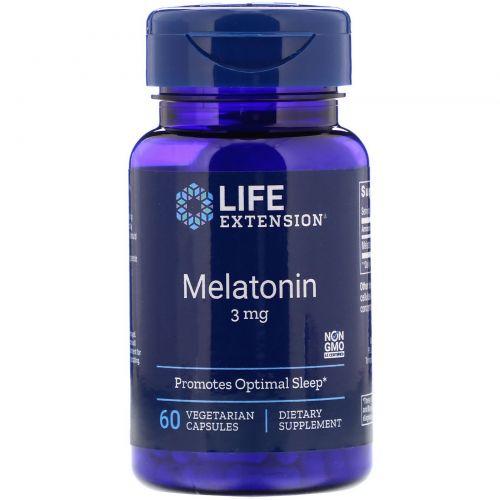 Life Extension, Life Extension, мелатонин, 3 мг, 60 капсул