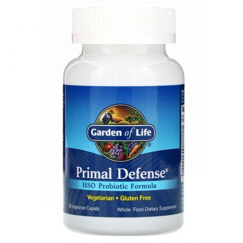 Garden of Life, Primal Defense, Формула, содержащая пробиотик HSO, 90 вегетарианских  капсул