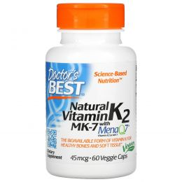Doctor's Best, Natural Vitamin K2 with MenaQ7, 45 mcg, 60 Veggie Caps