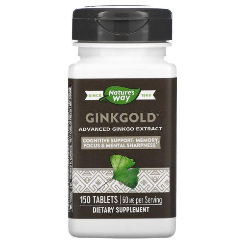 Nature's Way, Медицинский экстракт гинкго Ginkgold, 60 мг, 150 таблеток