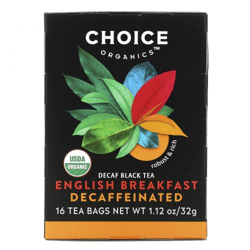 Choice Organic Teas, Органический декофеиновый чай «Английский завтрак», 16 чайных пакетиков, 1,1 унция (32 г)