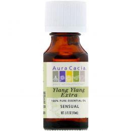 Aura Cacia, 100% чистое эфирное масло иланг-иланга экстра, 0.5 жидкой унции (15 мл)