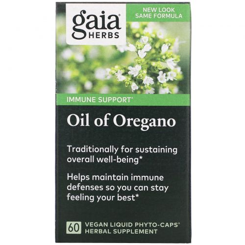 Gaia Herbs, Масло орегано, 60 вегетарианских жидких фито-капсул