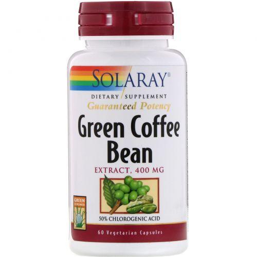 Solaray, Экстракт необжаренных зерен кофе, 400мг, 60вегетарианских капсул