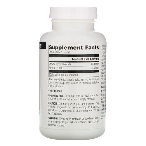 Source Naturals, Бетаина гидрохлорид, 650 мг, 180 таблеток