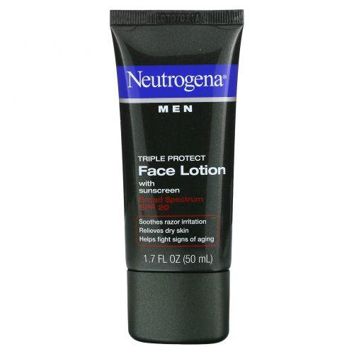 Neutrogena, Лосьон для лица для мужчин, тройная защита, солнцезащитный крем, SPF 20, 1,7 жидких унций (50 мл)