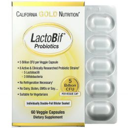 California Gold Nutrition, Пробиотики LactoBif, 5 млрд КОЕ, 60 овощных капсул